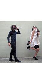 pink hm dress - black Primadonna boots - black cross necklace accessories - cycl
