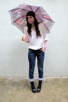 black Calzedonia socks - black H&M shoes - blue Promod jeans - white vintage shi