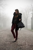 black cinti shoes - black elena miro coat - black Prada bag