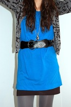 blue brandy shirt - black hm skirt - silver made by my self necklace - gray hm t