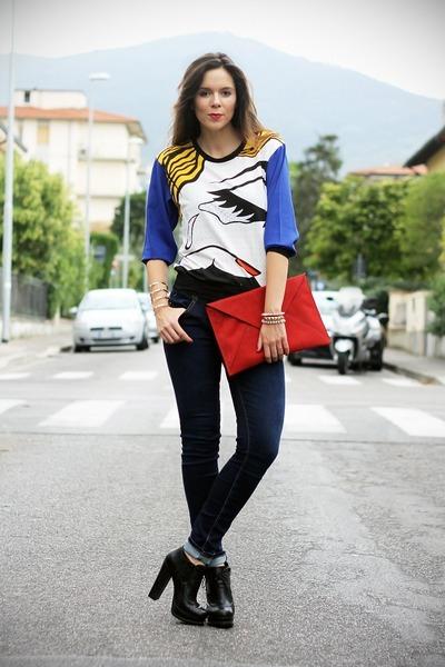 white Choies t-shirt - black Buffalo busra shoes - navy Fornarina jeans