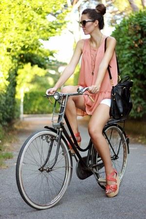 light pink H&M t-shirt - black Prada bag - white Zara shorts