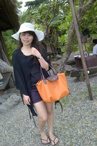 carrot orange longchamp bag - black Nevada sandals
