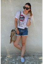DSquared t-shirt - D&G bag - Levis shorts - Celine sunglasses - pink woman flats