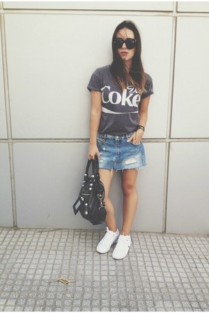 black balenciaga bag - black Celine sunglasses - blue pull&bear skirt