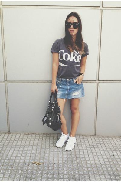 black balenciaga bag - black Celine sunglasses - blue pull&bear skirt