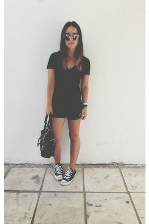 black balenciaga bag - black nike shorts - silver dior sunglasses