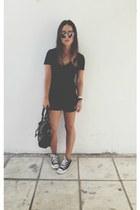 black balenciaga bag - black nike shorts - silver dior sunglasses