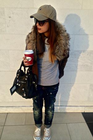 dark brown Zara jacket - blue DSquared jeans - dark khaki Ralph Lauren hat