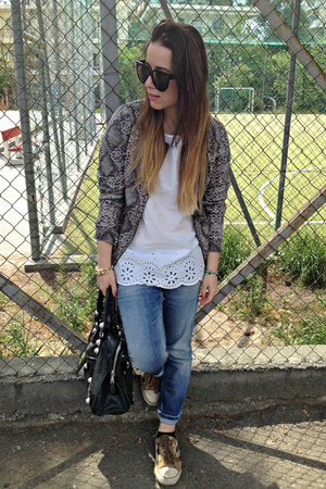 heather gray Pull & Bear jacket - blue DSquared jeans - black balenciaga bag