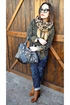 brown Zara scarf - brown Giuseppe Zanotti boots - blue DSquared jeans