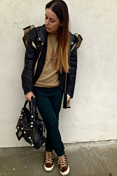 black Margiela with H&M jacket - camel united colors of benetton sweater