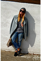 blue DSquared jeans - light blue Stradivarius coat - heather gray Zara sweater