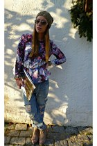 bubble gum H&M top - blue Zara jeans - camel Zara hat