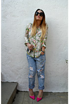 hot pink Zara shirt - blue Zara jeans - black Prada sunglasses