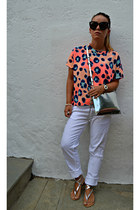 light orange Zara top - silver Zara bag - black Celine sunglasses