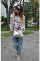 blue Zara jeans - gold Zara bag - black Celine sunglasses