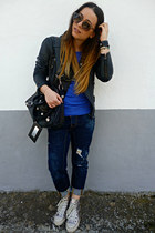 silver Converse sneakers - navy DSquared jeans - black Zara jacket