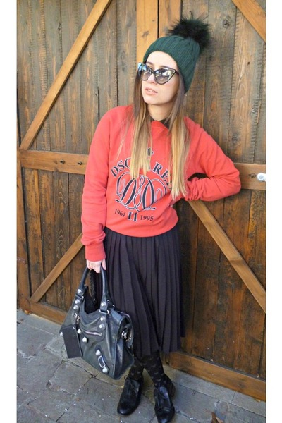 black emporio armani tights - red DSquared sweater - black balenciaga bag