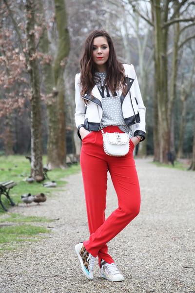 white Motivi bag - white Aniye By t-shirt - red milly pants