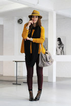 mustard H&M sweater - black New Kid shoes - mustard Borsalino hat