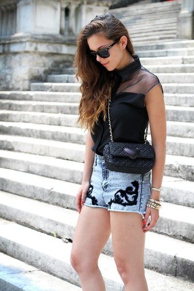 black Moschino bag - sky blue Romwecom shorts - black Spektre sunglasses