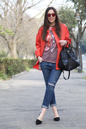 black Aldo shoes - carrot orange Girissima coat - black Prada bag