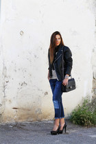 black asos jacket - navy Zara jeans - black Chanel bag - black cinti heels