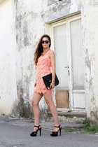 black H&M bag - light pink Cossy dress
