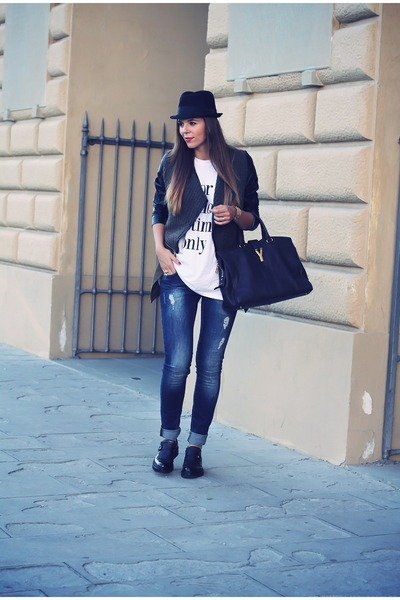 black Fabi shoes - navy Motivi jeans - black Romwecom jacket