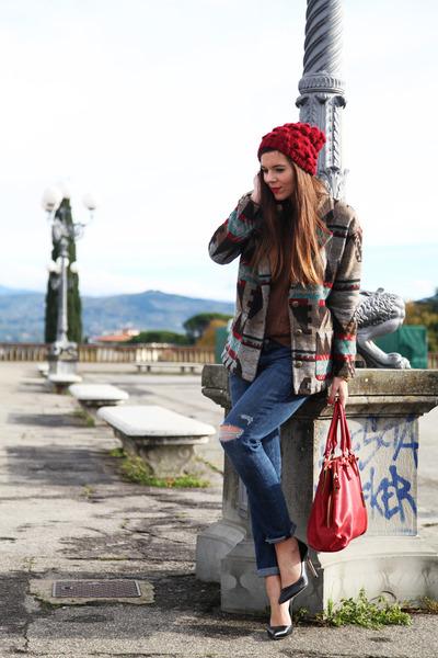 brown Forever 21 coat - dark gray Jonak shoes - red Stradivarius hat