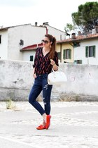 burnt orange uno8uno shoes - blue H&M jeans - red silvian heach shirt