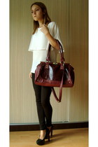 dark brown leggings - ruby red bag - black pumps - white blouse