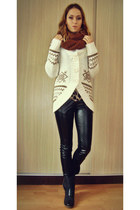 white cardigan - navy leather boneville boots - burnt orange kenvelo scarf