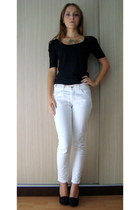 gold necklace - black pumps - white Pimkie pants - black Zara blouse