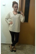 black ring - dark brown leggings - off white blouse - gold necklace