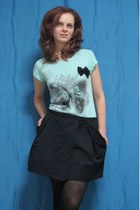 black skirt - aquamarine t-shirt