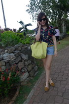 longchamp bag - Topshop shorts - Mango belt - Zara loafers - floral random brand