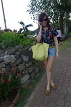 longchamp bag - Topshop shorts - Mango belt - Zara loafers - floral random brand