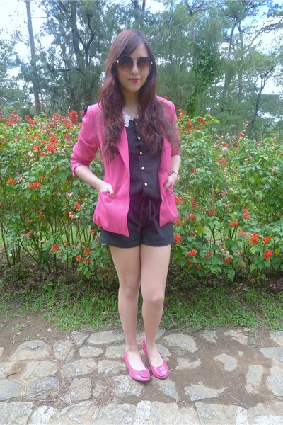 Bazaar romper - Pink Manila blazer - Topshop sunglasses - tory burch flats