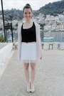White-h-m-skirt-black-bershka-blouse-neutral-unknown-brand-heels