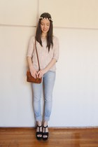 burnt orange Zara bag - sky blue Η&Μ jeans - black Zara wedges
