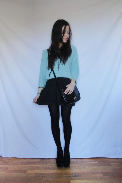 black Stradivarius bag - sky blue wool Attrativo sweater - black Zara skirt