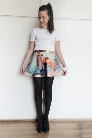 light blue scenic print romwe skirt - gold gold plated Zara belt