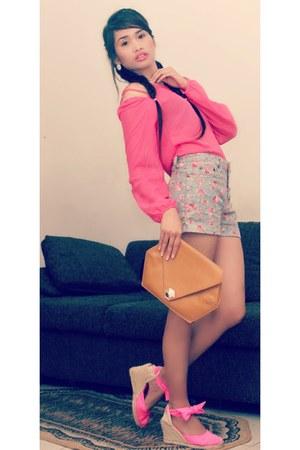 mustard clutch bag - sky blue floral shorts - hot pink sheer blouse