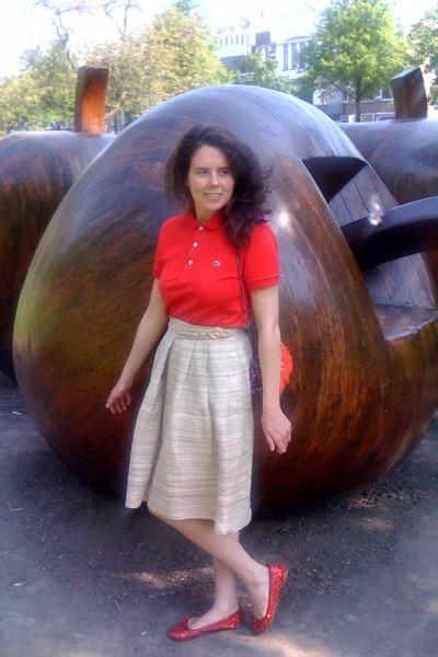 red Lacoste shirt - Lanvin for H&M bag - silk vintage skirt
