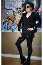 rhine stones sonia rykiel pour h&m leggings - vintage watch - patent leather son