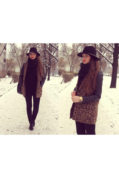 brown coat - black hat