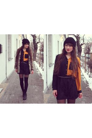 black tights - bronze coat - carrot orange shirt - black skirt