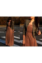 black boots - camel dress - dark khaki blazer